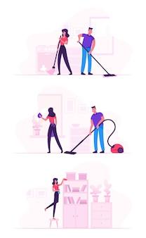 Casal na atividade de limpeza doméstica. ilustração plana dos desenhos animados