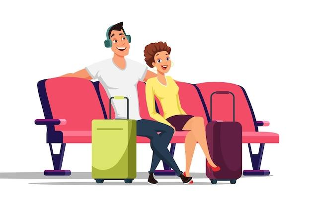 Casal na ilustração de sala de espera, turismo, férias, viagem em família.