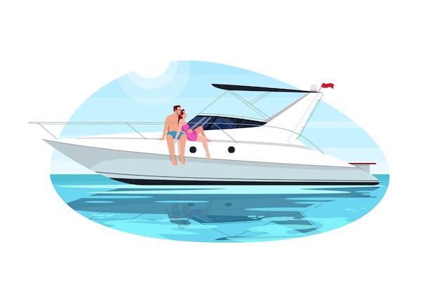 Casal na ilustração semi plana de viagem