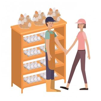 Casal na prateleira de madeira com caráter de avatar de ovos