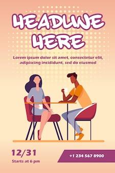 Casal namorando em modelo de folheto de cafeteria
