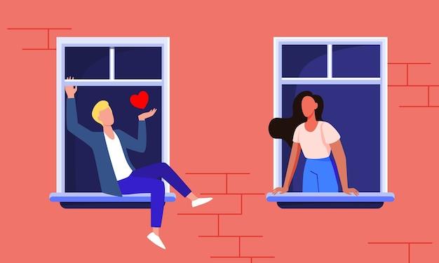 Casal namorando pelas janelas. vista da fachada, vizinho homem e mulher ficar em casa e falando ilustração vetorial plana. romance, quarentena