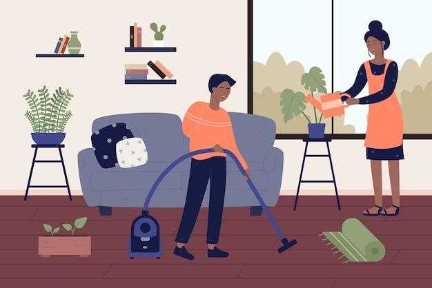 Casal negro afro-americano limpando o quarto da casa