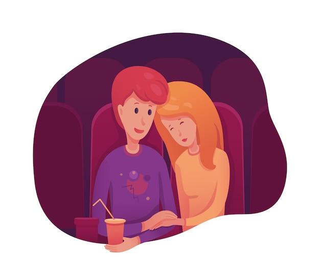 Casal no cinema, menino e menina tendo uma noite romântica