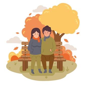 Casal no parque outono