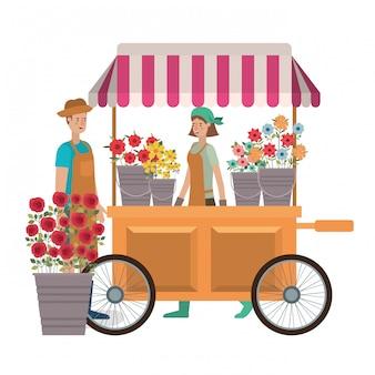 Casal no quiosque de loja com personagem de avatar de flores