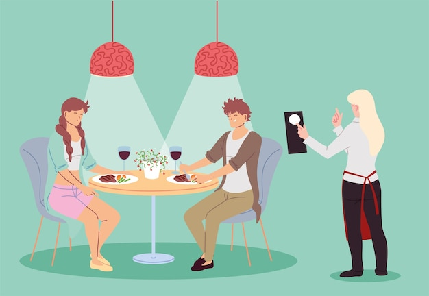 Casal no restaurante jantando e garçonete tirando o desenho da ilustração do pedido