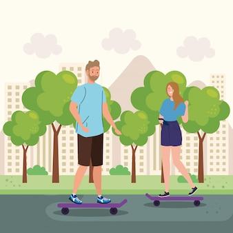 Casal no skate, realizando atividades ao ar livre