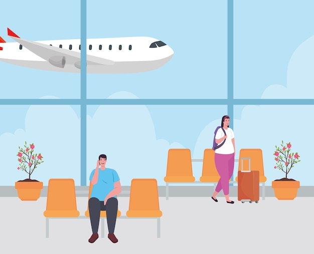 Casal no terminal do aeroporto, passageiro no terminal do aeroporto com bagagens