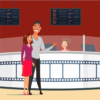 Casal num encontro na ilustração de cinema. feliz esposa e marido comprando ingressos para o cinema. namorada e namorado apaixonado. noite romantica. personagens de desenhos animados no cinema juntos