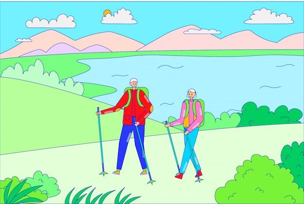 Casal outdoorsman masculino feminino segurar mão caminhadas vara, personagem pessoas andam floresta ao ar livre lago lugar linha ilustração arte.