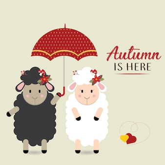 Casal ovelhas sob o guarda-chuva