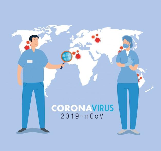Casal paramédico para atenção de 2019 ncov