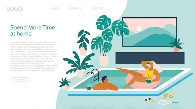 Casal passa as férias de verão na piscina durante a quarentena.