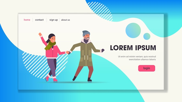 Casal patinando na pista de gelo esporte de inverno atividade recreação em feriados conceito homem e mulher passando tempo juntos cópia horizontal de comprimento total.