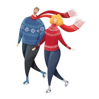 Casal patinando no gelo atividade de inverno ao ar livre