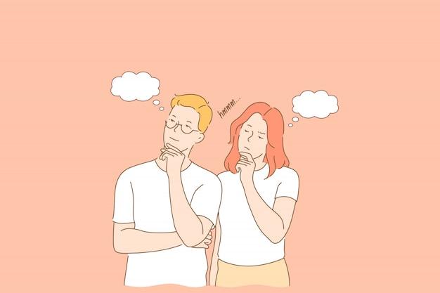 Casal pensativo e pensativo
