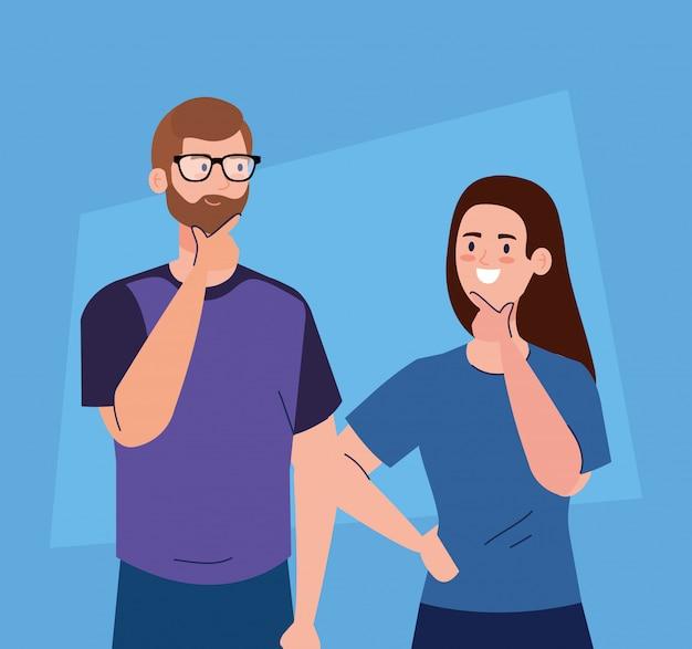Casal pensativo, mulher e homem, pensando ou resolvendo o problema