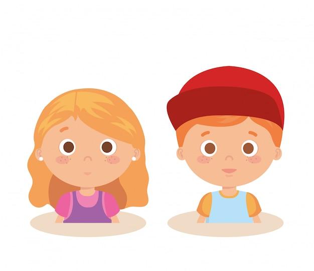 Casal personagens de crianças pequenas