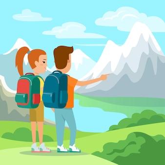 Casal plano com mochilas, apreciando a natureza, a ilustração vetorial de vista para a montanha.