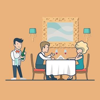 Casal plano linear bebendo vinho sentado no restaurante, celebração do aniversário. garçom com a garrafa na mão, personagens de homem, mulher. conceito de vida familiar feliz.