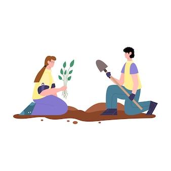 Casal plantando mudas de plantas ilustração em vetor desenho isolado