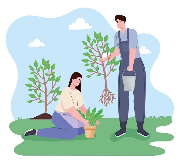 Casal plantando personagens