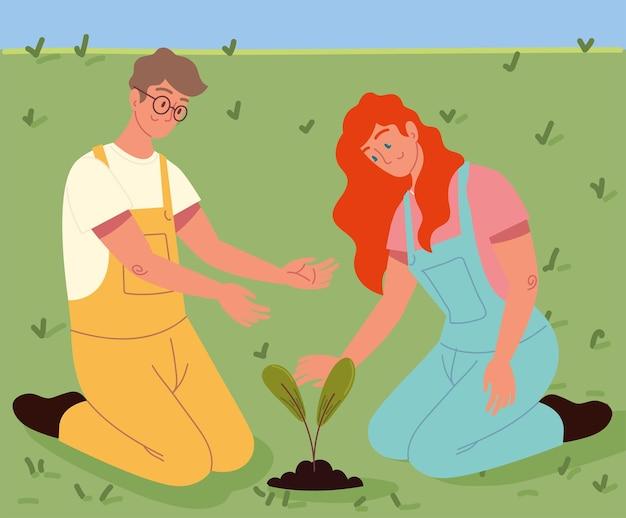 Casal plantando uma árvore