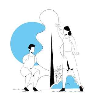 Casal praticando exercício no personagem de avatar de natureza