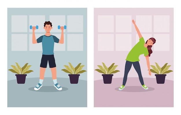 Casal praticando exercício no projeto de ilustração vetorial casa