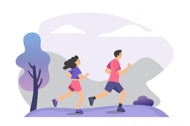 Casal praticando trilha executar treinamento