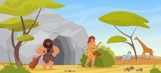 Casal primitivo caçador homem das cavernas segurando clube para caçar mulher colhendo frutas.