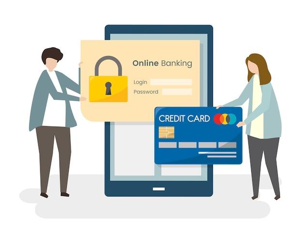 Casal protegendo seu banco on-line