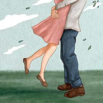 Casal pulando abraçando uma ilustração romântica do dia dos namorados em uma postagem em mídia social