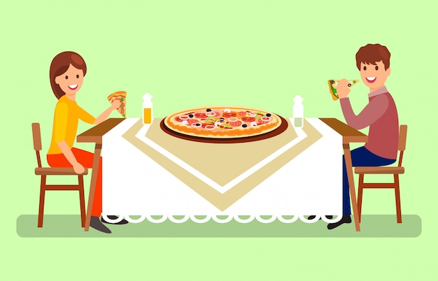 Casal que tem jantar ilustração vetorial