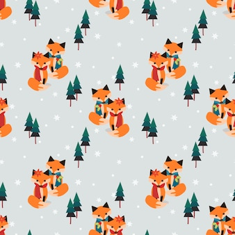 Casal raposas na temporada de natal sem costura padrão.