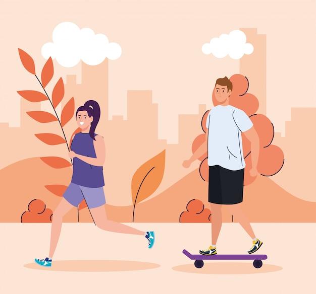 Casal realizando atividades ao ar livre, jovem no skate e mulher correndo