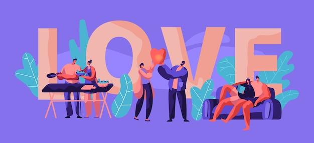Casal relaxa no banner de tipografia de fim de semana. homem e mulher cozinham salada para design de cartaz de piquenique. caráter humano lança lanterna do céu no parque deitado no sofá. ilustração em vetor plana dos desenhos animados