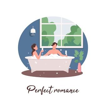 Casal relaxando na banheira post de mídia social. frase de romance perfeita. modelo de design de banner da web.