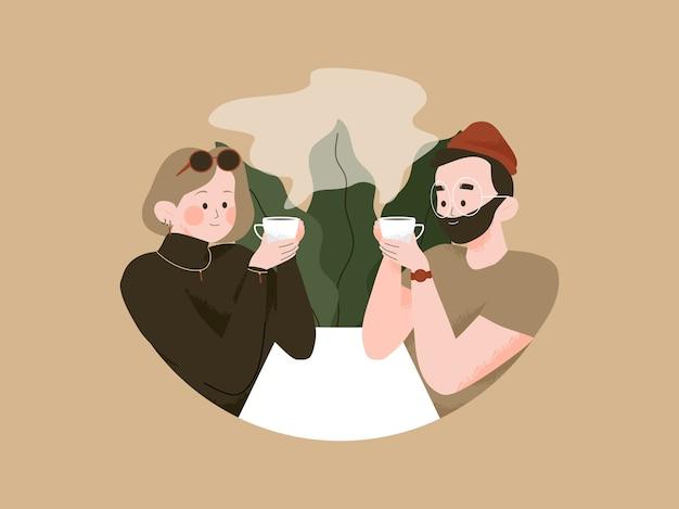 Casal relaxando tomando um café na ilustração da cafeteria