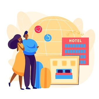 Casal reserva de quarto de hotel