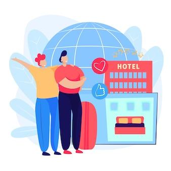 Casal reserva página do quarto de hotel