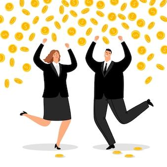 Casal rico de negócios. chuva de dinheiro para escritório feliz mulher e empresário, fluxo de dinheiro para ganhar casal bem sucedido