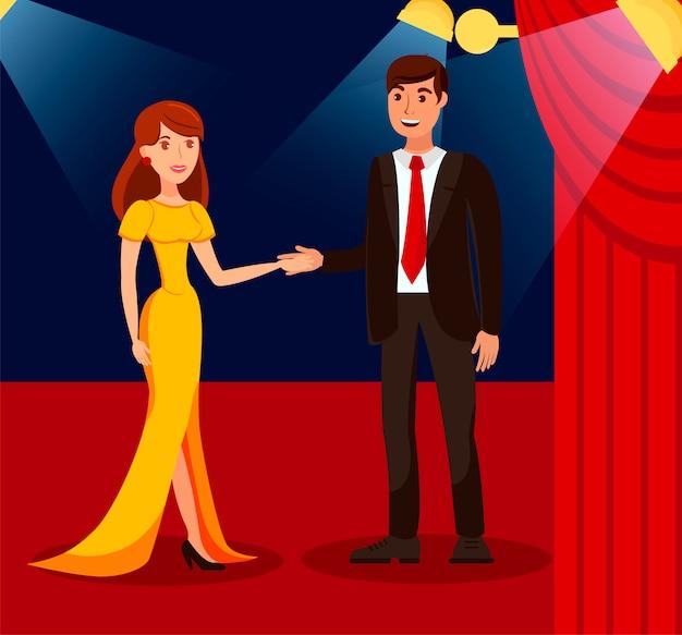 Casal rico na ilustração de cor plana de tapete vermelho