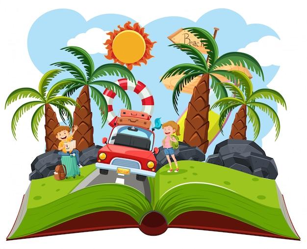 Casal roadtrip pop up livro,