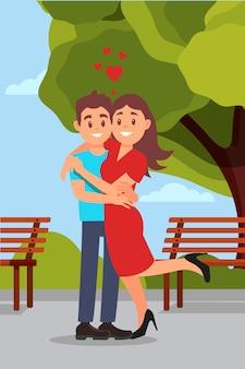 Casal romântico abraçando no parque, mulher, levantando a perna. bancos de madeira, árvore verde e céu azul. design plano