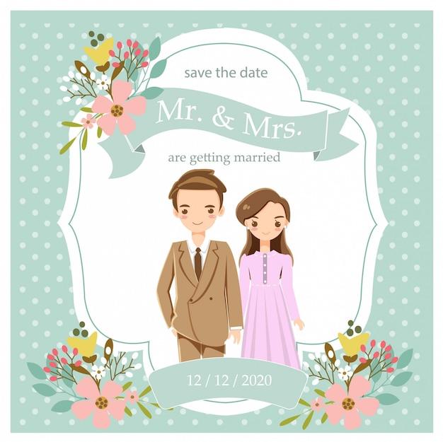 Casal romântico bonito no cartão de convites de casamento