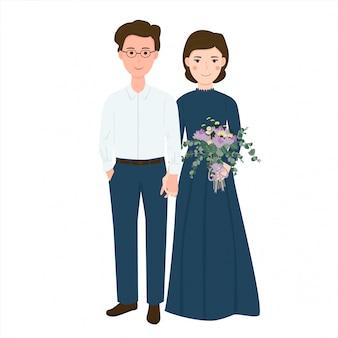 Casal romântico bonito traz ilustração de buquê de flores