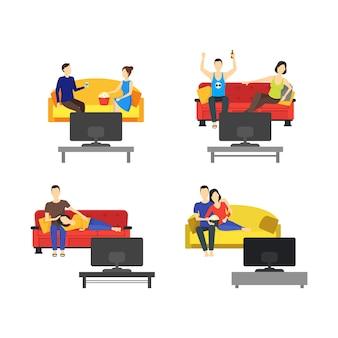 Casal romântico dos desenhos animados assistindo tv definir estilo simples design juntos lazer familiar. ilustração vetorial