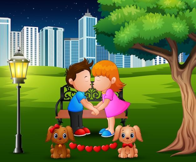 Casal romântico dos desenhos animados, beijando debaixo da árvore em um parque